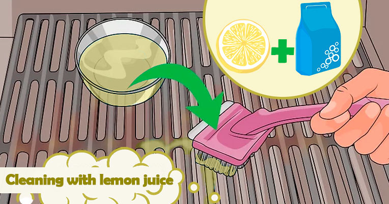 Cleaning the grate with lemon juice