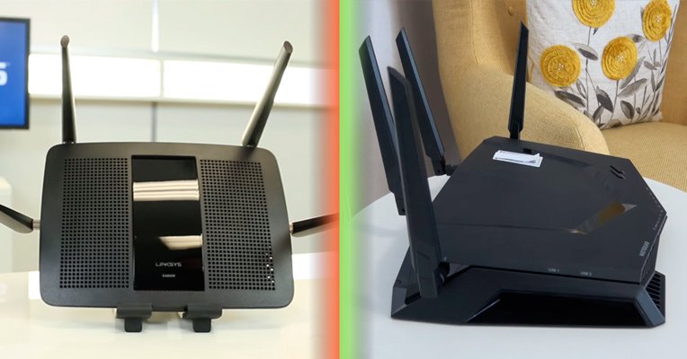 Linksy and Netgear Wireless Routers Side by Side