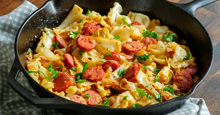 Delicious Kielbasa and Cabbage Skillet