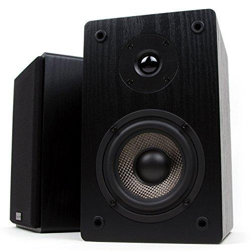 Micca MB42 Bookshelf Speakers With 4-Inch Carbon Fiber Woofer and Silk Dome Tweeter