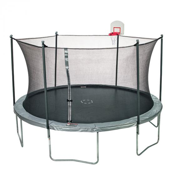 Jump Zone 15' Round Trampoline with DunkZone Basketball Hoop & Spinner Flash LiteZone