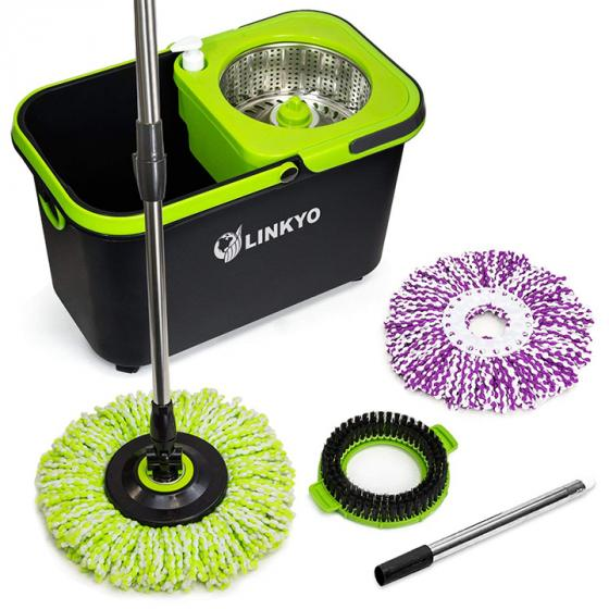 LINKYO Spin Mop SWR360 Microfiber Mop with Easy Wringer Bucket