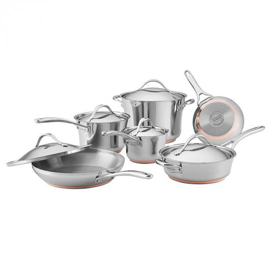 Anolon 77709 Nouvelle Copper Stainless Steel Set