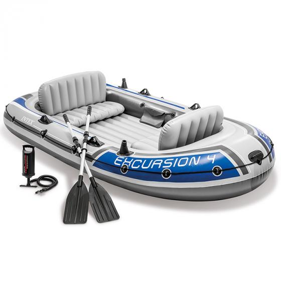 Intex Excursion 4 4-Person Inflatable Boat Set with Aluminum Oars and High Output Air Pump