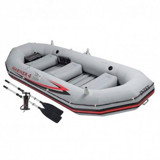 Intex Mariner 4 Inflatable Raft River/Lake Dinghy Boat Set & Motor Mount Kit