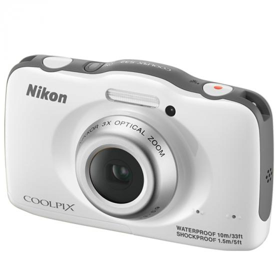 Nikon COOLPIX S32 Waterproof Digital Camera with Full HD 1080p Video (White)