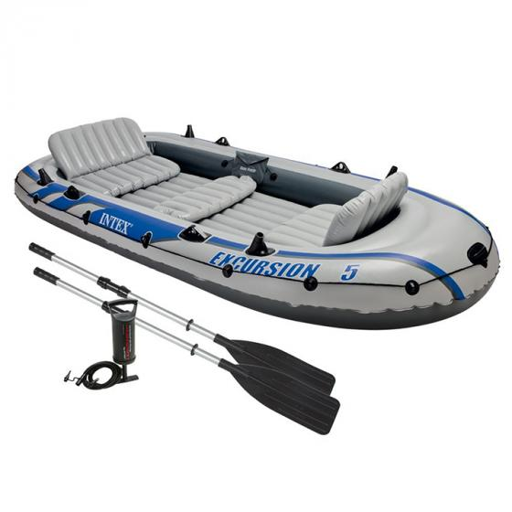 Intex Excursion 5 Inflatable Rafting and Fishing Boat with Oars + Motor Mount