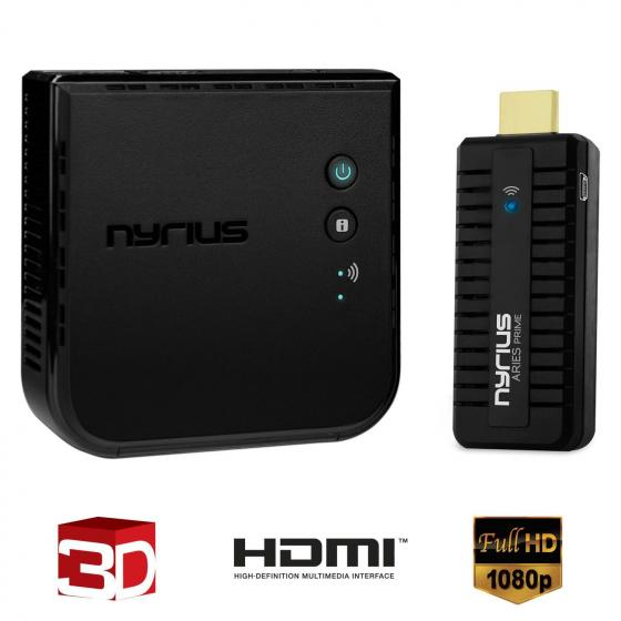 Nyrius ARIES Prime (NPCS549) Wireless Video HDMI Transmitter & Receiver for Streaming HD 1080p 3D Video