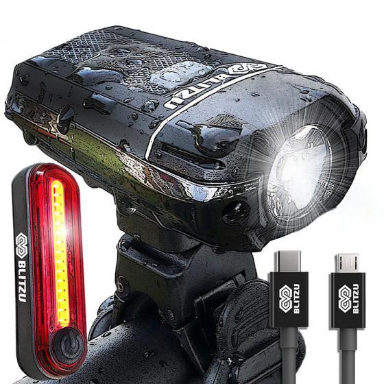 Bicycle Headlight Front... BLITZU Gator 390 USB Rechargeable LED Bike Light Set