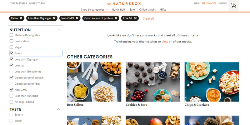 NatureBox Food Delivery Service in the use