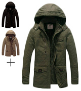 WenVen Thicken Cotton Men's Winter Parka Jacket with Removable Hood
