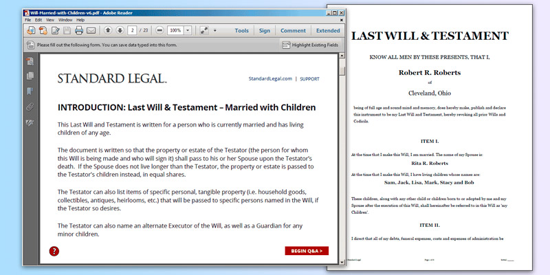 Standard Legal Last Will & Testament in the use