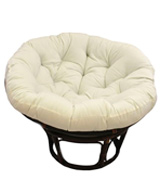 International Caravan 3312-TW-EGG-IC Rattan Papasan Chair with Solid Twill Cushion
