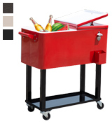 Outsunny Rolling Ice Chest Patio Cooler Cart
