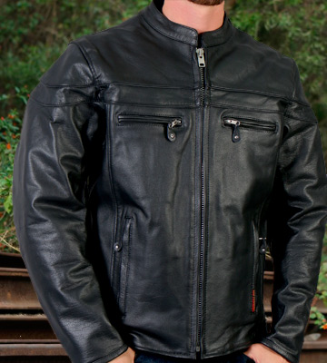Review of Hot Leathers JKM1011 Men's Heavyweight Black Leather Jacket with Double Piping