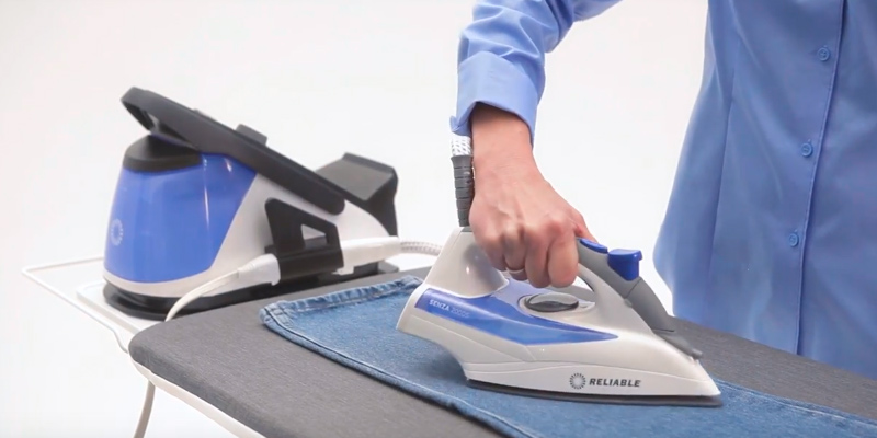Reliable 200DS 2-in-1 Home Steam Ironing System with Detachable Iron in the use