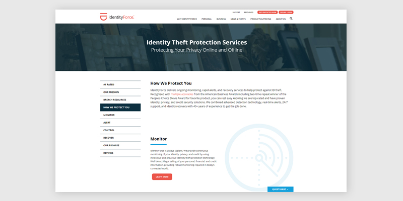 IdentityForce ID Protection Products & Coverage in the use