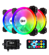 GIM 120mm RGB Case Fan with Controller and Remote (3-Pack)