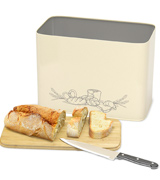 Cooler Kitchen Extra Large Vertical Bread Box With Eco Bamboo Cutting Board Lid