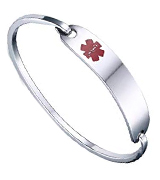 VNOX B-117S Medical Stainless Steel Medical Alert ID Bangle Bracelet