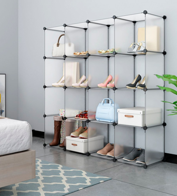 Review of LANGRIA 16-cube Plastic Shoe Rack Modular Shelving Storage Organizer