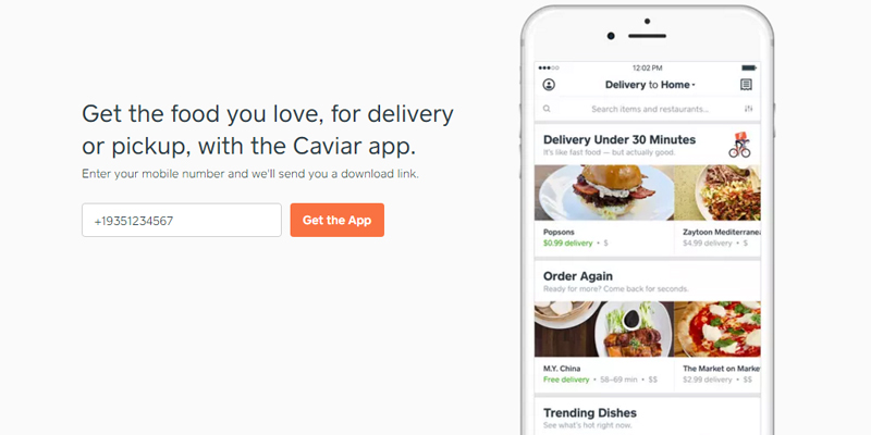 Caviar Food Delivery in the use