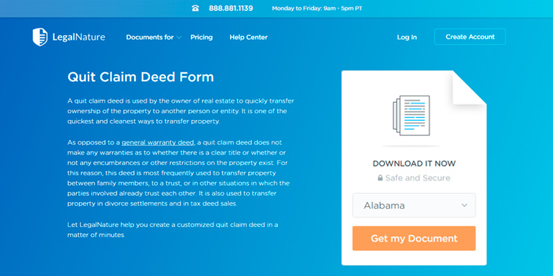 Review of LegalNature Quit Claim Deed Form