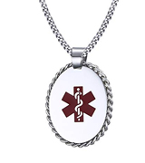 VNOX PN-674 Free Engraving Stainless Steel Medical Alert ID Pendant Necklace