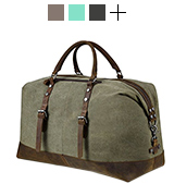 BLUBOON Weekender Overnight Bag Canvas Genuine Leather Travel Duffel Tote