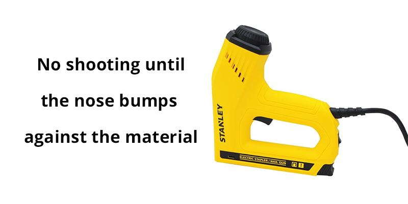 Stanley TRE550 Dual Power Lever Nail Gun in the use