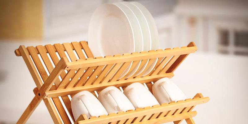 Review of Saganizer Folding Wooden Bamboo Dish Rack