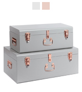 Beautify Metal Storage Trunk Set Gray Vintage Style With Rose Gold Handles