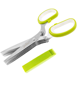 Jenaluca Heavy Duty 5 Blade Herb Scissors with Safety Cover