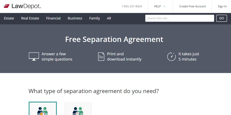 Review of LawDepot Separation Agreement Form