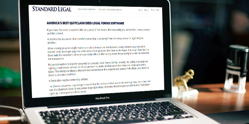 Standard Legal Quitclaim Deeds Legal Forms Software in the use