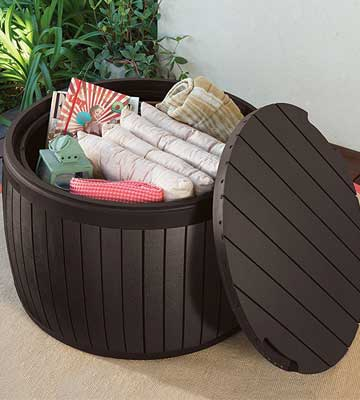 Review of Keter Wood Style Round Outdoor Storage Table Deck Box