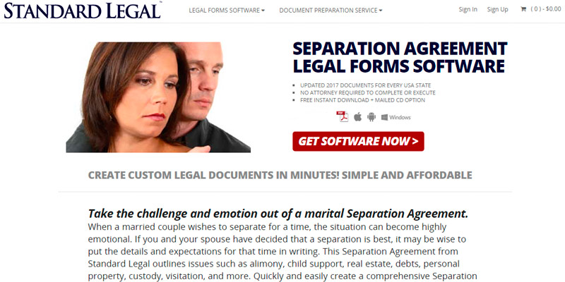 Review of Standard Legal Separation Agreement Legal Forms Sofware