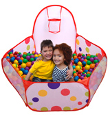 Mudder Kids Kids Ball Pool with Mini Basketball Hoop and Zipper Storage Bag