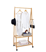 SONGMICS Wooden Garmen Rack with Storage Shelves