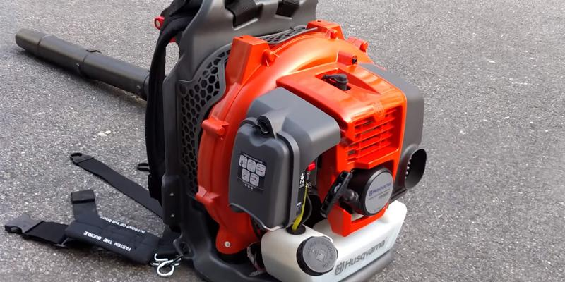 Husqvarna 965877502 350BT Backpack Leaf Blower in the use