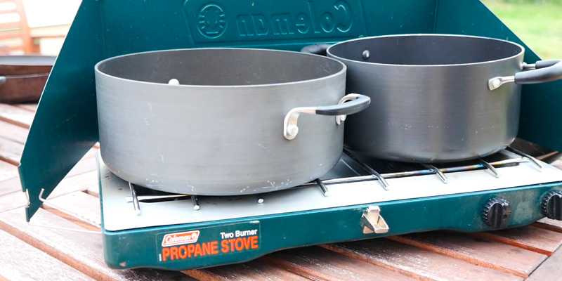 Coleman Classic Propane Stove Portable Propane Gas Classic Camp Stove with 2 Burners in the use