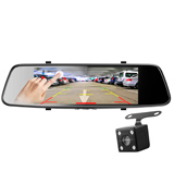 Pruveeo D700 Touch Screen Mirror Dash Cam (Front 1080p & Rear View)