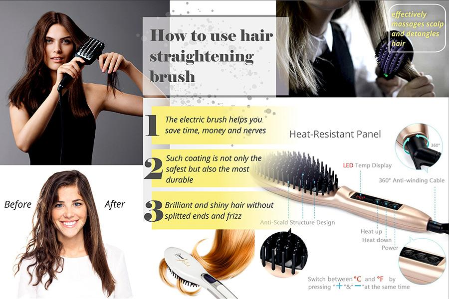Comparison of Electric Straightening Brushes for Safe Hair Styling