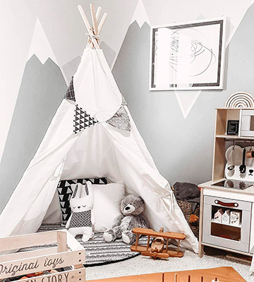 Review of little dove Kids Foldable Teepee Play Tent with Carry Case