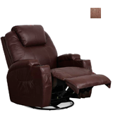 Esright Espresso PU Leather Massage Recliner