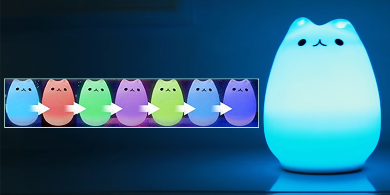 Umiwe Children Night Light Silicone Cat Lamp in the use