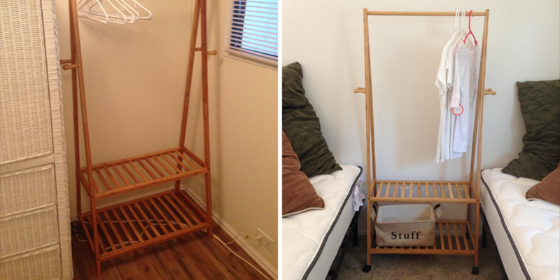 Review of SONGMICS Wooden Garmen Rack with Storage Shelves