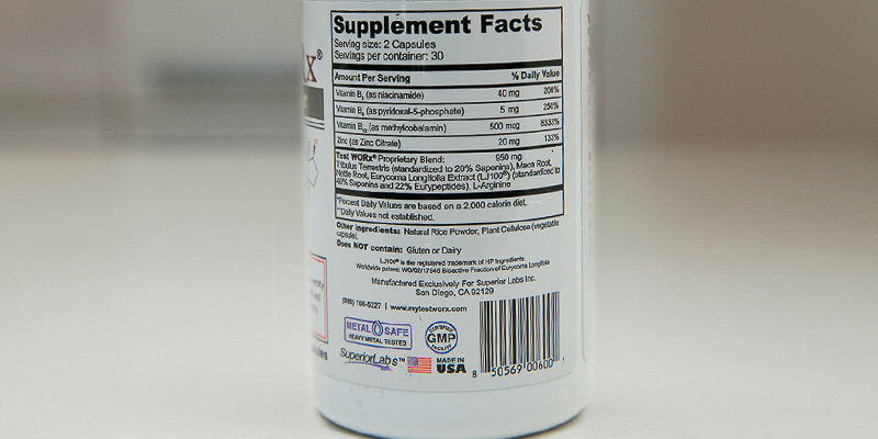 Review of Superior Labs 60 Caplets TEST WORx Natural Testosterone Booster