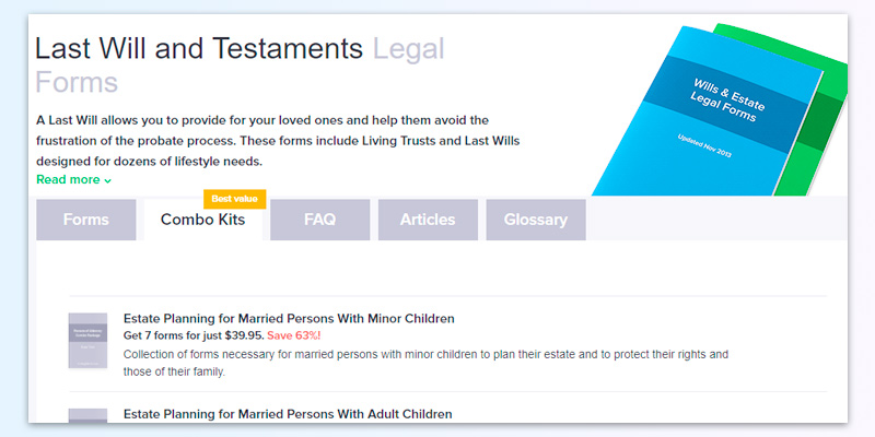FindLegalForms Last Will and Testaments Legal Forms in the use