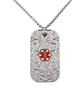 BAIYI Stainless Steel Celtic Pattern Tag Medical Alert ID Necklace